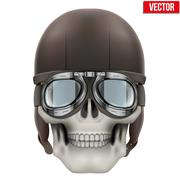 Human skull with retro aviator or biker helmet - stock illustration