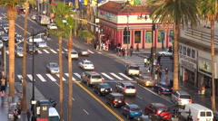 Timelapse aerial view busy Hollywood boulevard people travel commute Los Angeles Stock Footage