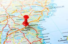 Linkoping ,Sweden map Stock Photos