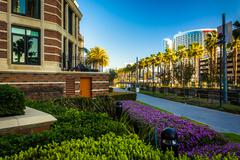Gardens and buildings along the MLK Promenade in San Diego, California. - stock photo