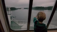 Kid on ferryboat Stock Footage