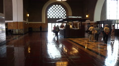 Lobby and information desk in Los Angeles Union Station Stock Footage