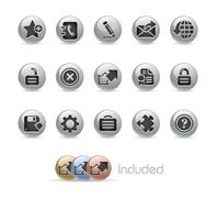 Web Site & Internet Plus Buttons // Metal Round Series - stock illustration