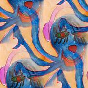 Stock Illustration of ink blue horror story blot splatter background isolated on white