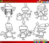 Christmas themes children coloring page Stock Illustration