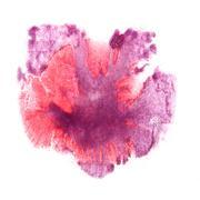 Ink pink, purple blot splatter background isolated on white hand Stock Illustration