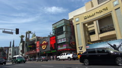 Stock Video Footage of Timelapse Kodak Dolby Theatre building Hollywood boulevard car pass day emblem