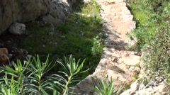 Stone stairs to small unique bay Stock Footage