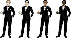 Man in black tuxedo and bow tie Stock Illustration