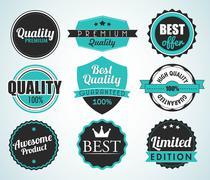 set of vintage sale and promotion badges - stock illustration