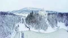 Castle Trakoscan aerial wide shot winter Stock Footage