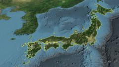 Japan, glide over the map, outlined Stock Footage