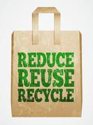 reduce, reuse, recycle, paper bag - stock illustration