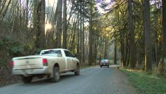 Pick Up Trucks Driving Down Forest Road Stock Footage