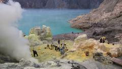 Sulfur Mining Operation at Kawah Ijen Volcano, East Java, Indonesia Stock Footage