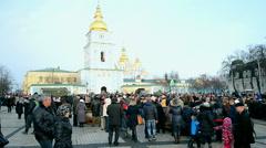 Military exhibition of weapon captured in Eastern Ukraine in Kiev, Ukraine. Stock Footage