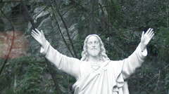 Jesus Statue in Forest Stock Footage