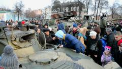 Military exhibition of weapon captured in Eastern Ukrainein Kiev, Ukraine. Stock Footage