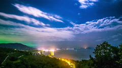 4K TimeLapse - Night panoramic sea and city views from the viewpoint Stock Footage