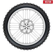 Motorbike enduro wheel with brake rotor and tire Piirros