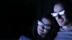 Happy, Excited Couple Watching 3D Movie at home Stock Footage