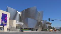 Timelapse traffic street Walt Disney Concert Hall Los Angeles landmark iconic US - stock footage