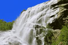 Alibek Waterfall. Dombay Mountains. The Northern Caucas - stock photo