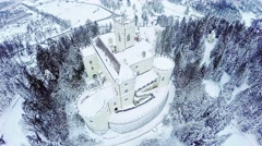 Aerial view Castle Trakoscan in Croatia in winter snow Stock Footage
