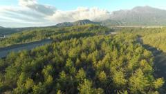 Aerial Footage Sakurajima Volcano Erupting Volcanic Ash Stock Footage