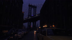A nice view of a Brooklyn New York street with the Bridge background and Stock Footage