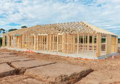 Stock Photo of New home construction framing.