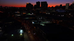 A wide angle view over Queens, New York City at dusk. Stock Footage
