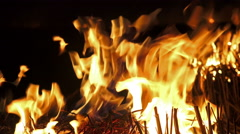 4K igniting fire isolated. Alpha matte from black background. UHD stock video - stock footage