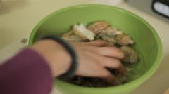 Morel Mushroom Cooking - Washing, Soaking Stock Footage