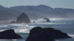 Haystack Rock, Cannon Beach, Oregon from Ecola Park - stock footage