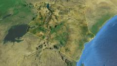 Kenya, glide over the map, outlined Stock Footage