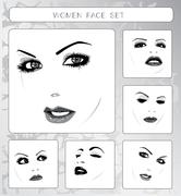 beautiful women faces collection, vector - stock illustration