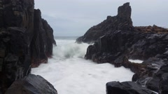 Moody Sea Storm Waves on Rocks Seascape - stock footage