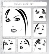 Beautiful women faces collection, vector Stock Illustration