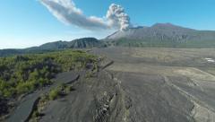 Sakurajima Volcanic Eruption Ash Cloud Aerial Footage Stock Footage