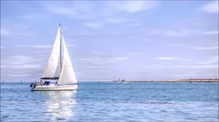 Yacht in the sea Stock Footage