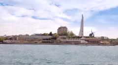 City Sevastopol. Obelisk in honour a city - hero Stock Footage