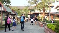 Students walk to school - stock footage
