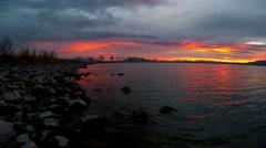 Video at Utah Lake during sunset. Stock Footage