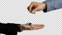 House keys are placed in a hand  Stock Footage