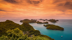 4K TimeLapse - Sunset over the islands in the bay National Angthong Marine Park Stock Footage