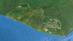 Liberia, glide over the map, outlined Stock Footage