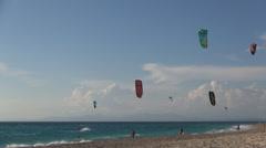 Kitesurfers. Kitesurfing contest. Sea surfers. Kitesurfer. Watersports. Stock Footage