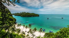 4K TimeLapse - Beach with boats, National Angthong Marine Park Stock Footage