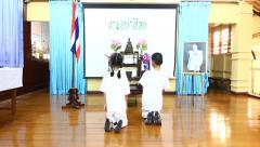 """""""Wai"""" Thai Greetings Competition in School Stock Footage"""